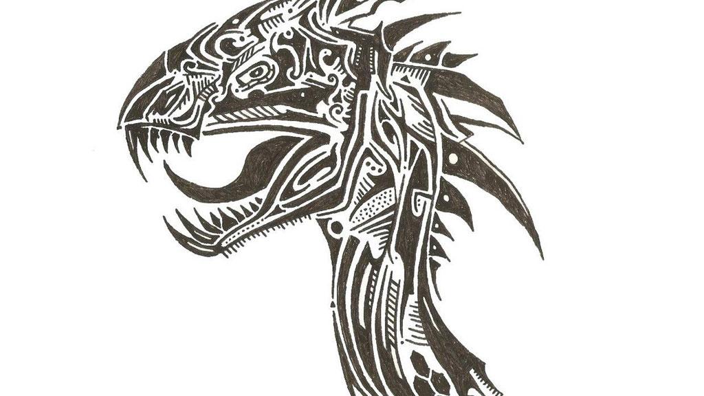 Dragon tribal tattoo drawing