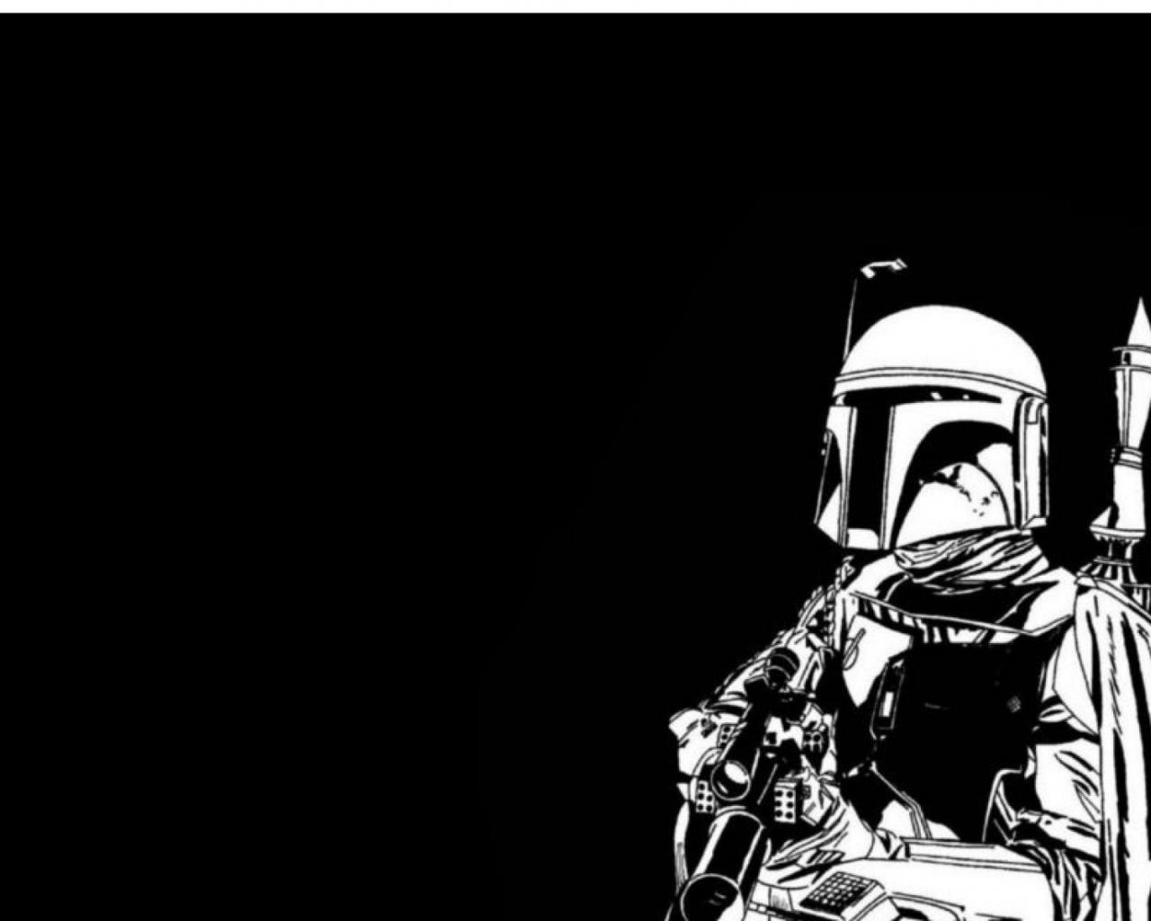 Free Download Boba Fett Star Wars Black Green White Wallpaper