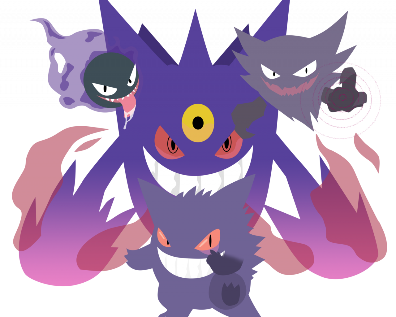 Free download Mega Gengar Family Pokemon Vector by firedragonmatty  [1600x1431] for your Desktop, Mobile & Tablet | Explore 49+ Wallpaper Mega  Gengar Pokemon | Wallpaper Mega Gengar Pokemon, Mega Gengar Wallpaper, Shiny