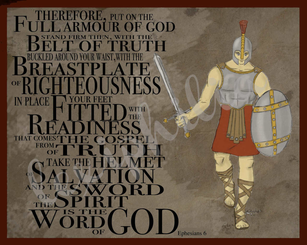Free Download Armor Of God Female Armor Of God 8x10 Art Print