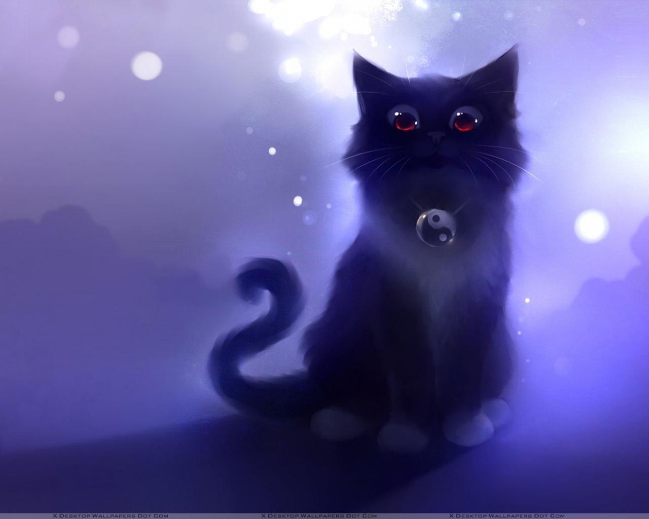 Free Download Cartoon Black Cat Sitting Wallpaper 1920x1080 For