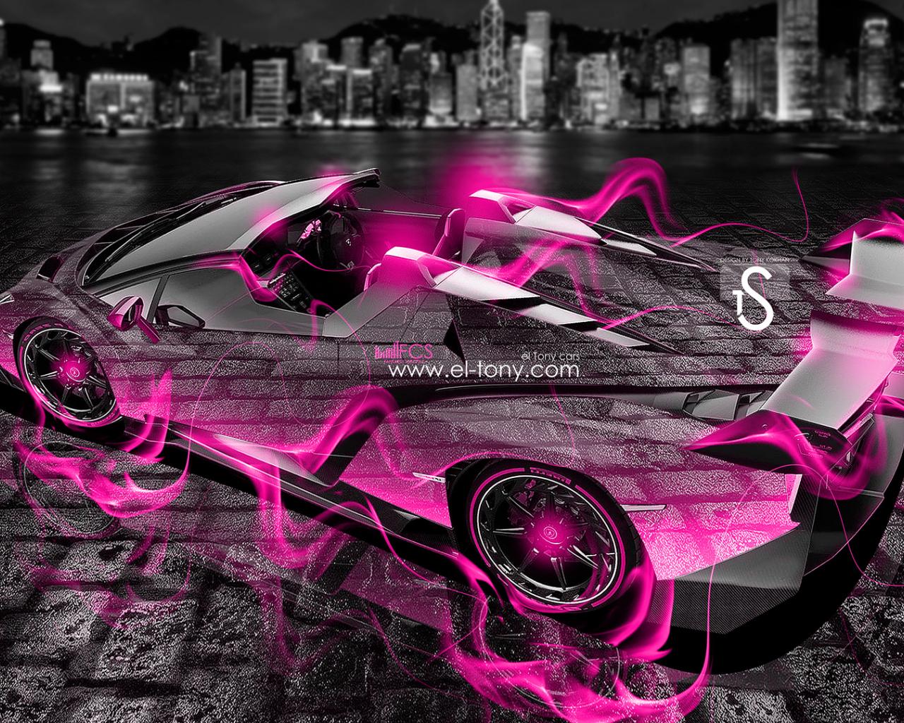 Free download Lamborghini Veneno Roadster Pink Fire City