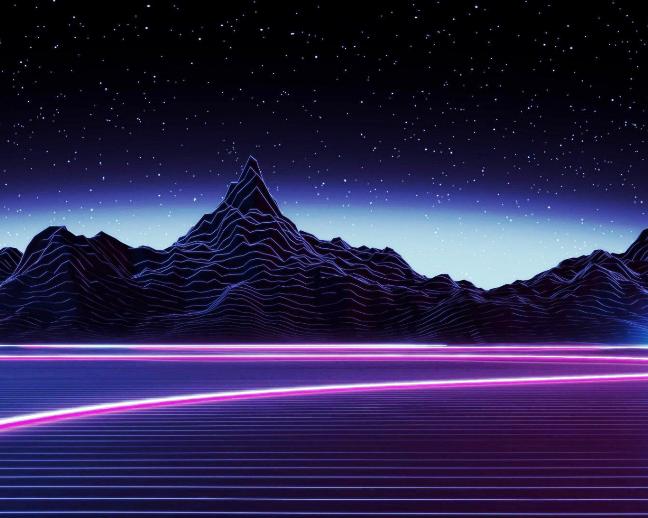 Free Download Desktop Neon Mountain Wallpaper Dark Aesthetic