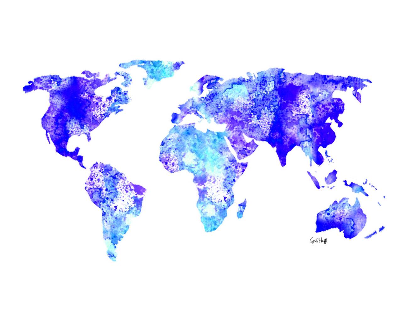 Free Download Watercolor World Map Print Wall Art Painting