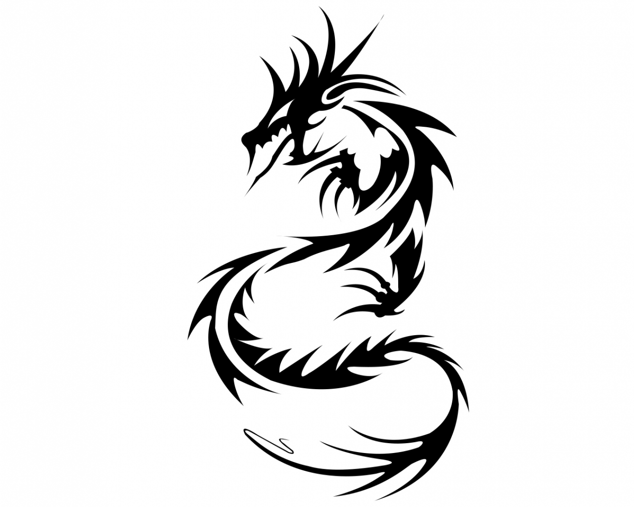 Free Download Dragon Black And White Tribal Wallpaper Clipart Best