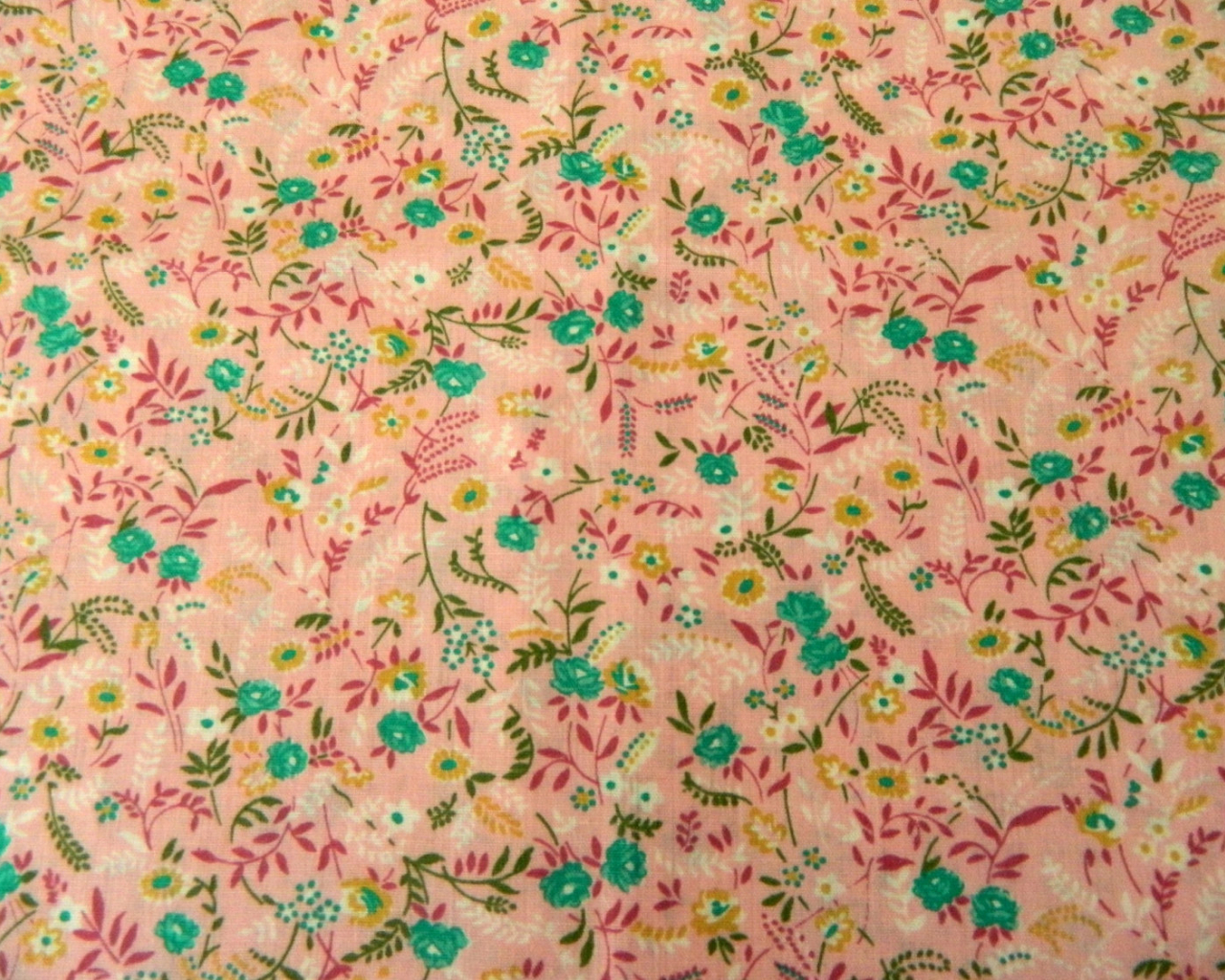 Free Download Vintage 70s Small Floral Print Fabric By