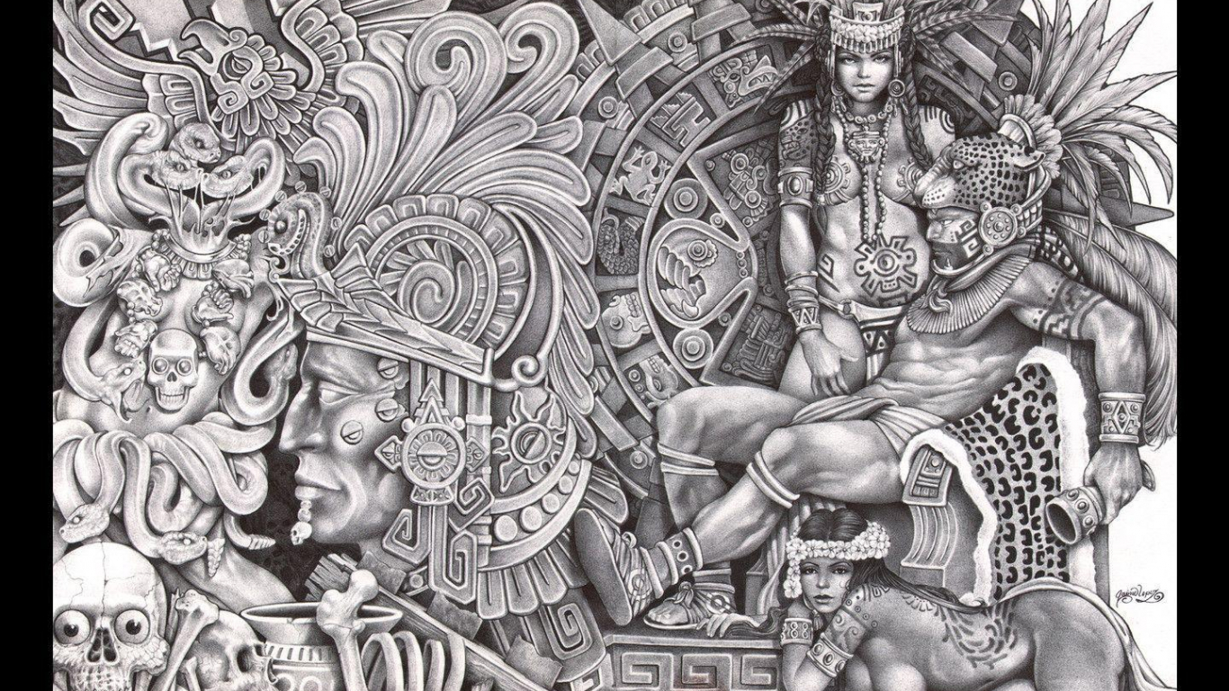 1440x900px Aztec Warrior Wallpaper