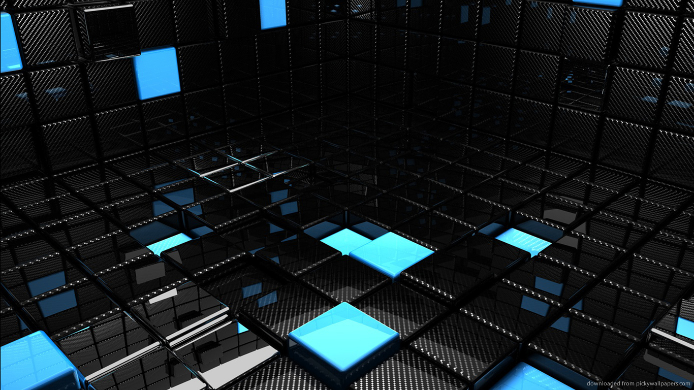 Free Download Download 1366x768 Chrome And Blue 3d Room