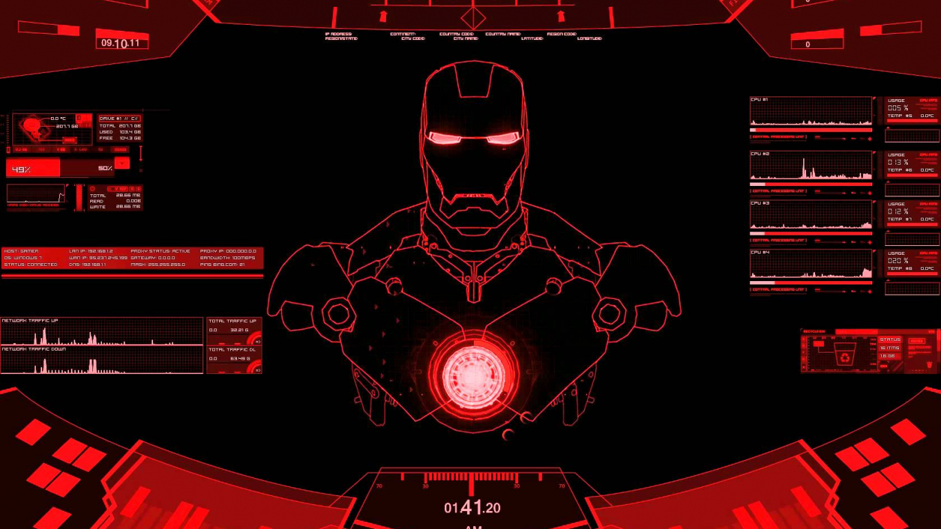 Free download Rainmeter Ironman red theme 1680x1050 for ...
