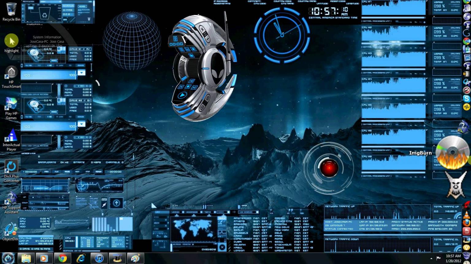 Free Windows 7 3D Desktop Puter Theme [