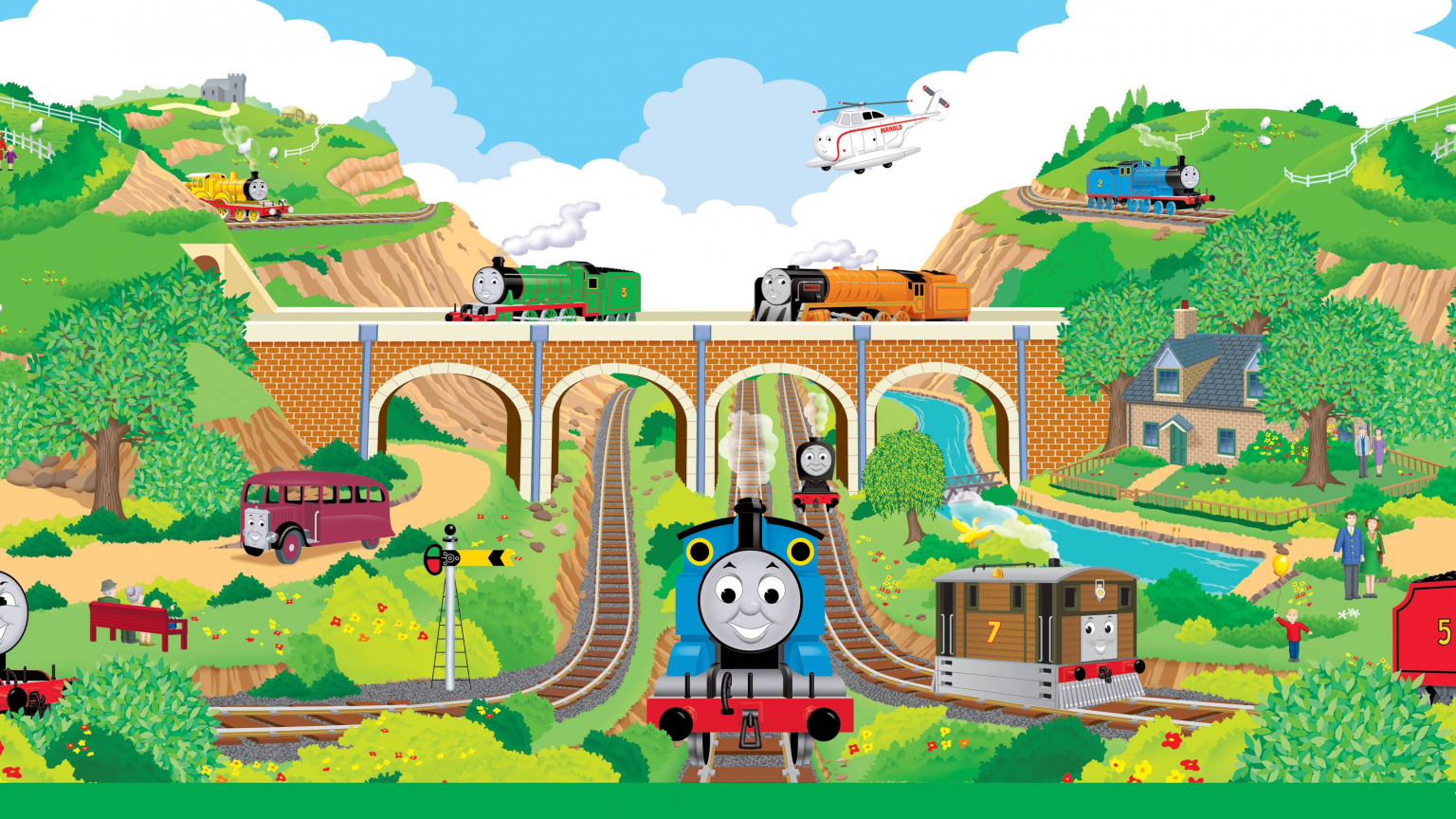 3681x1772px thomas and friends desktop wallpaper - Background thomas and friends ...