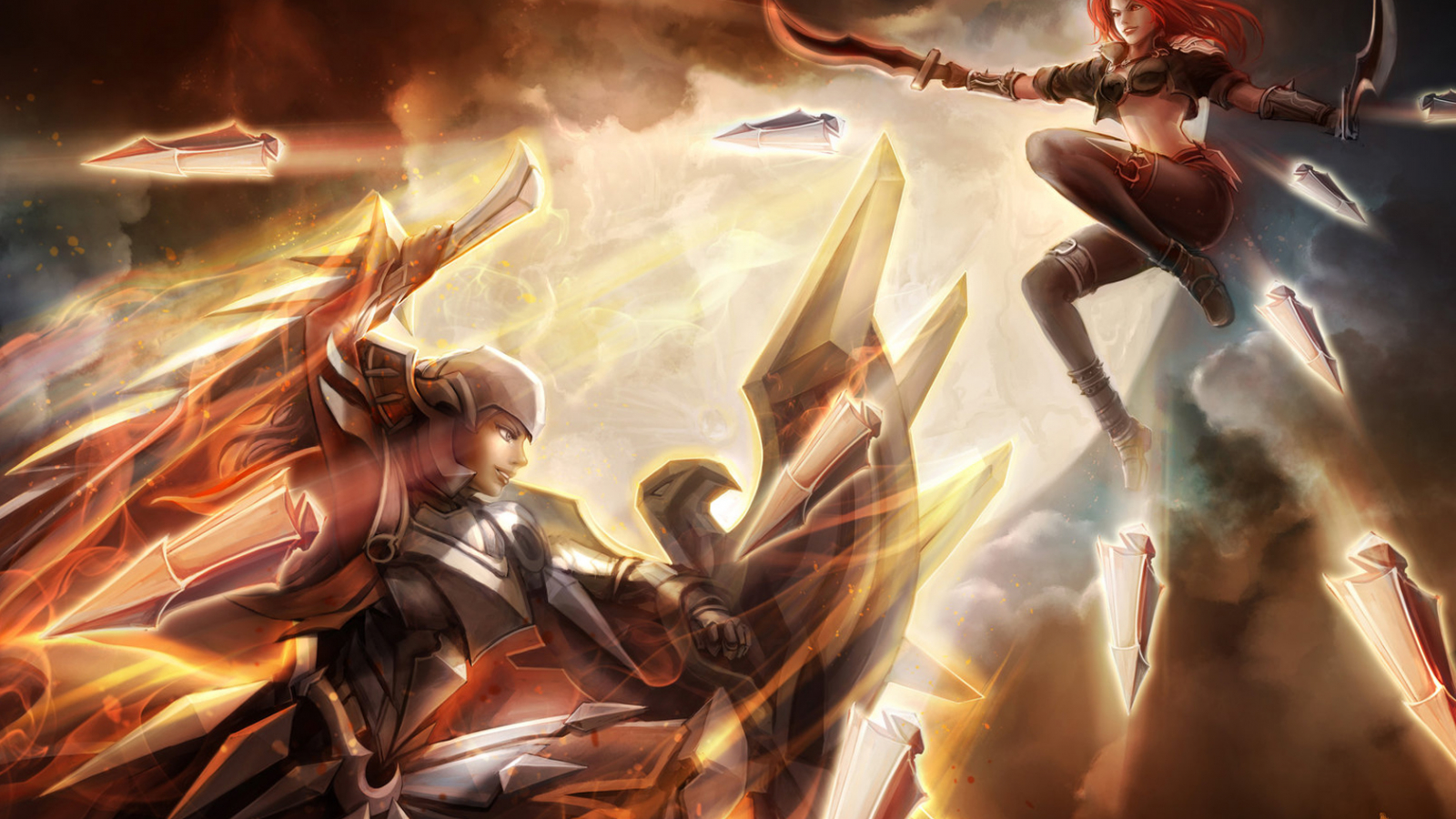 Free Download Katarina Vs Leona Fighting Girl League Of Legends Hd