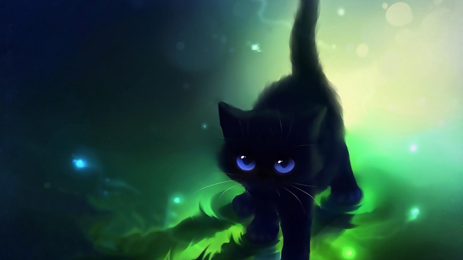 Free Download Cute Black Cat Cartoon Cute Black Cat Blue Eyes Cute