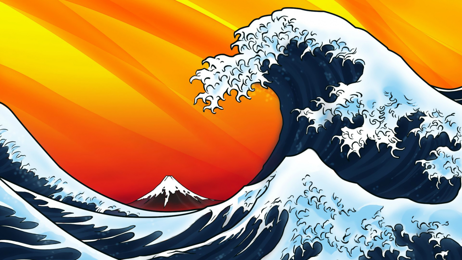 Free Download Japanese Style Waves Wallpaper Vector
