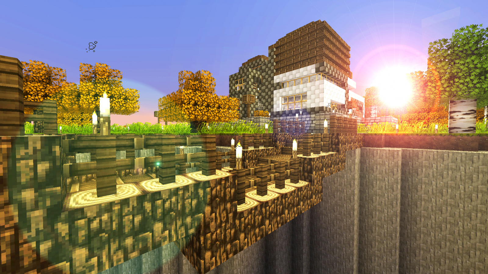 Download Minecraft Wallpapers House In The Sunset By Nsgeo Fan Art
