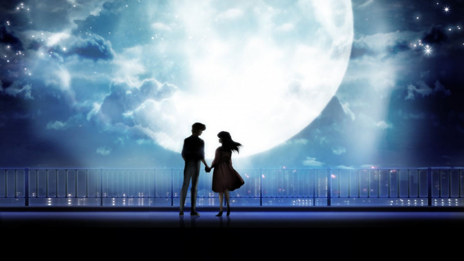 Anime art anime couple holding hands moonlight desktopjpg 1680x1050 desktop 1680x1050