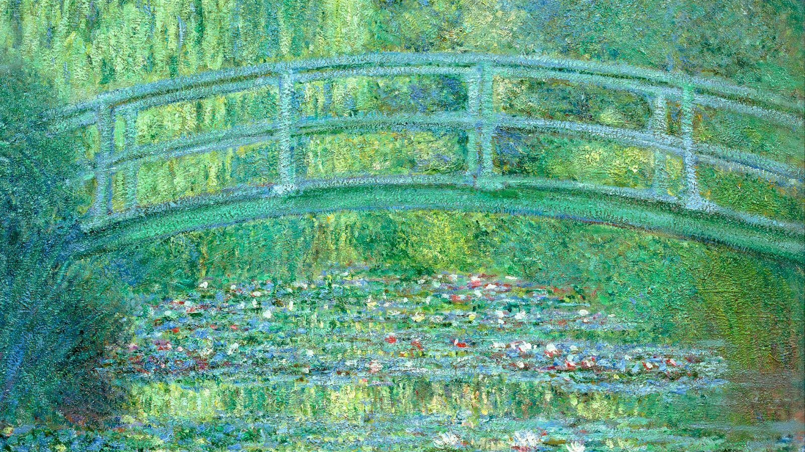 Free Download Water Lilies And Japanese Bridge Wallpaper Art