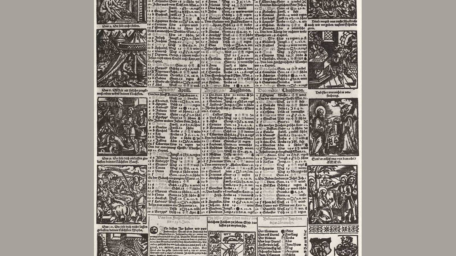 Free Download Calendar Of The Year 1590 With The Ten Commandments