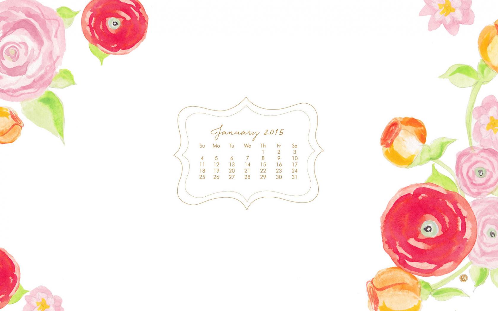 Free Download January Calendar Floral Watercolor Wallpaper