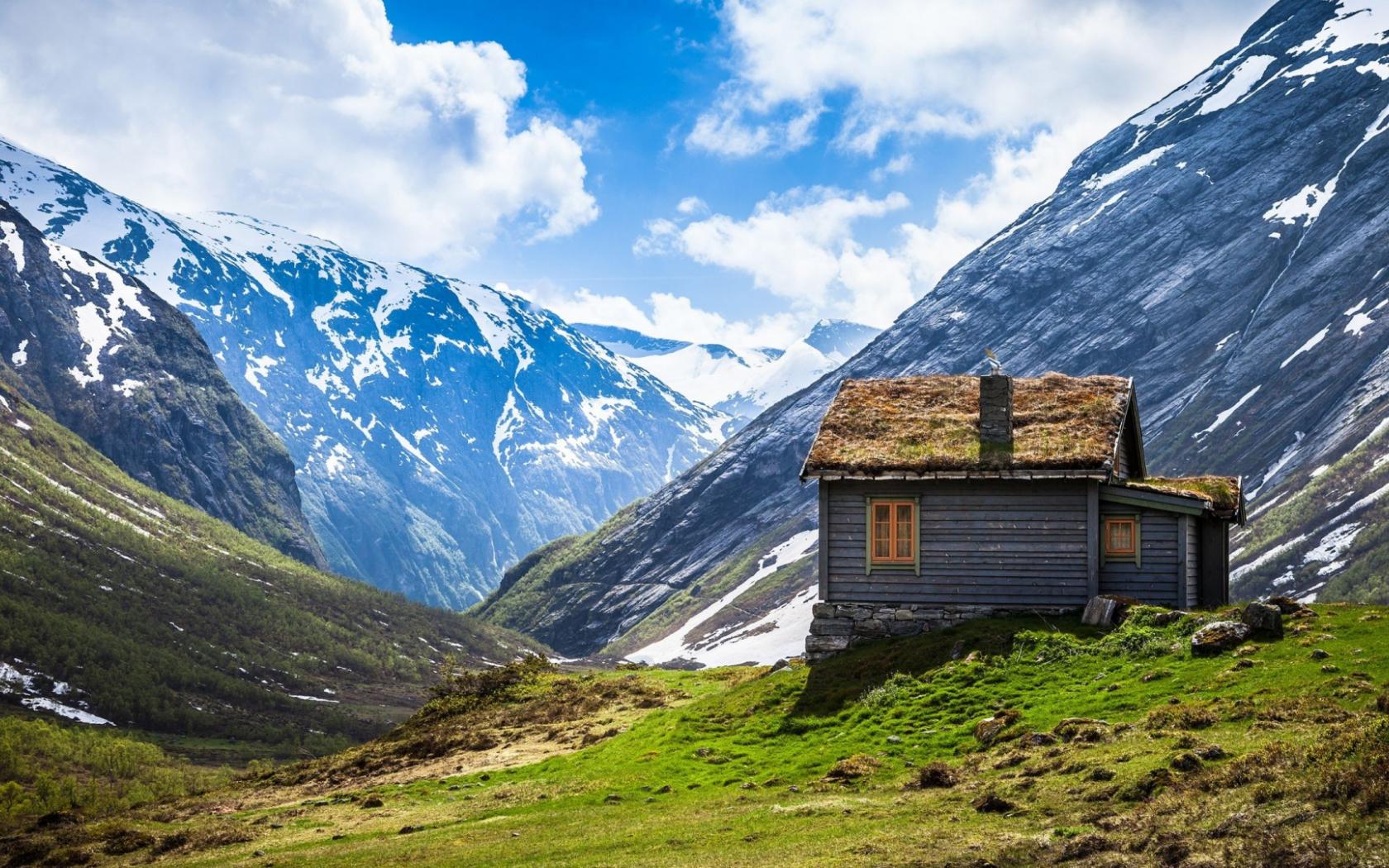 Free Download Wallpaper 1920x1080 Mountain Lodge Top Snow Full Hd