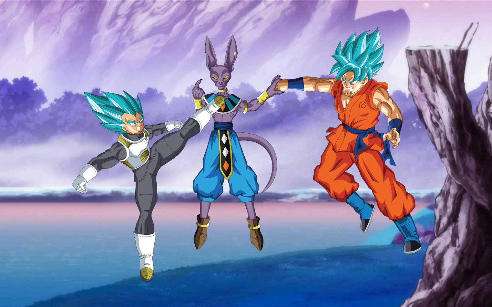 Free Download Vegeta And Goku Ssgss Vs Lord Beerus Wallpaper By