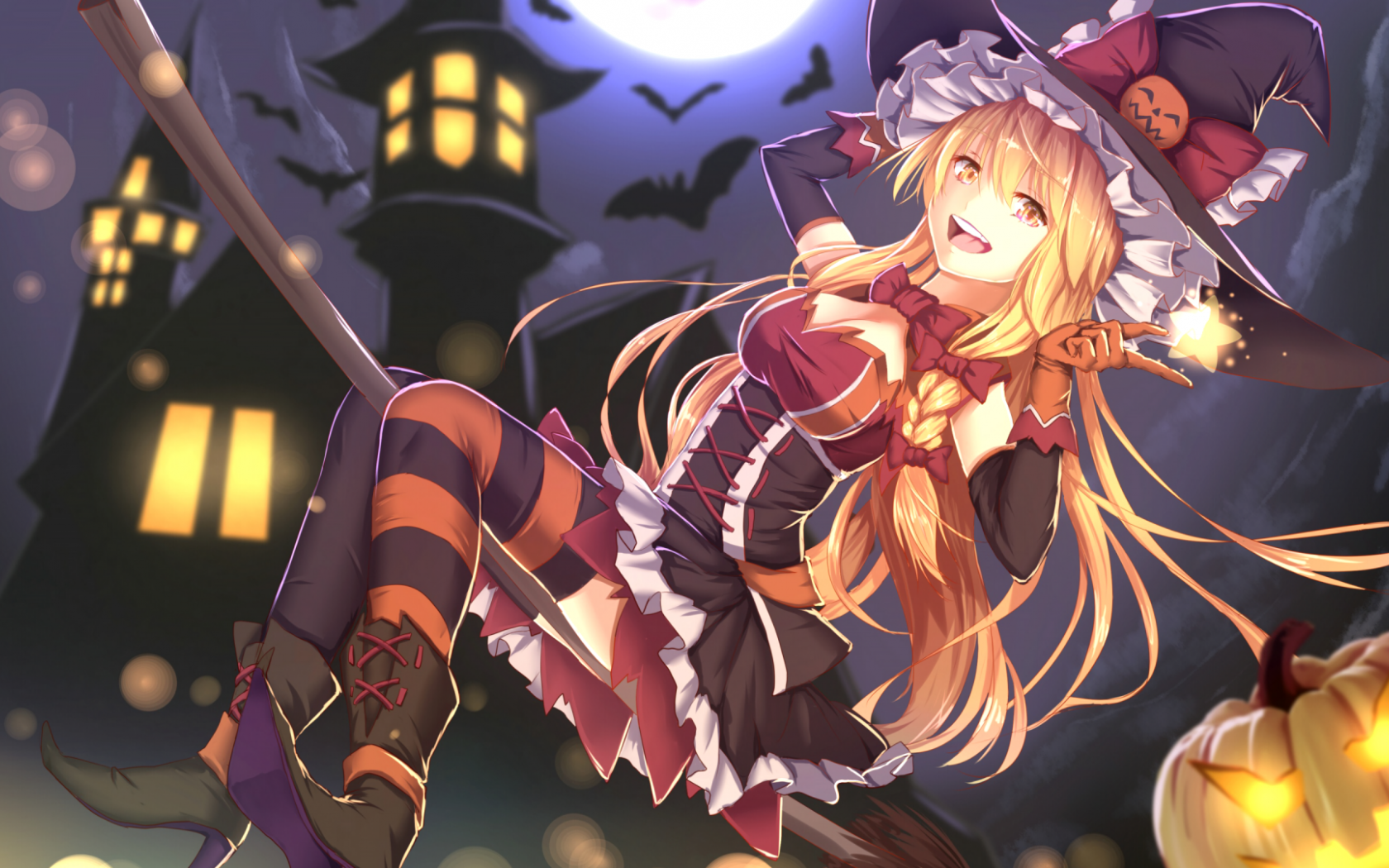 Free download Download 1920x1080 Anime Girl Halloween Costume Witch Broom  [1920x1080] for your Desktop, Mobile & Tablet | Explore 38+ Halloween Anime  Girls Wallpapers | Halloween Anime Girls Wallpapers, Anime Wallpapers Girls,