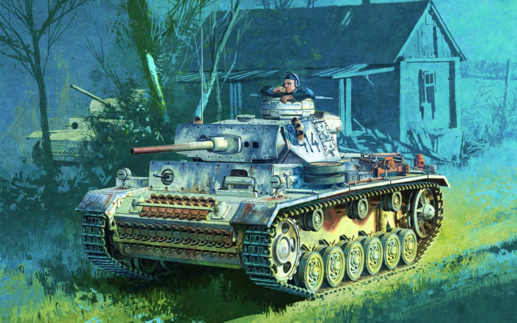 Free download panzer iii ww2 war tank art painting