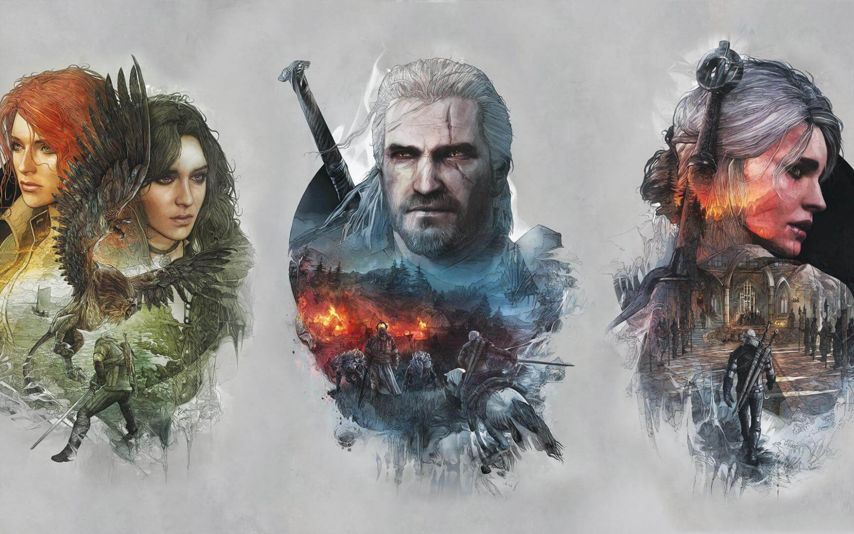 Free Download Witcher 3 Ciri Geralt Yennefer Wallpaper 1920x1080
