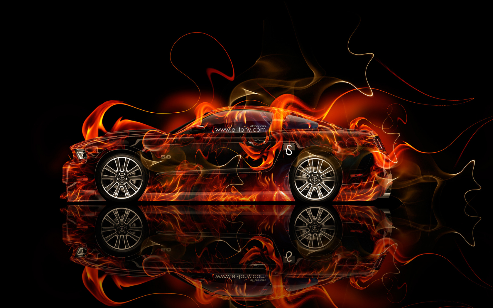 Free Download Ford Mustang Gt Muscle Fire Car 2014 Hd