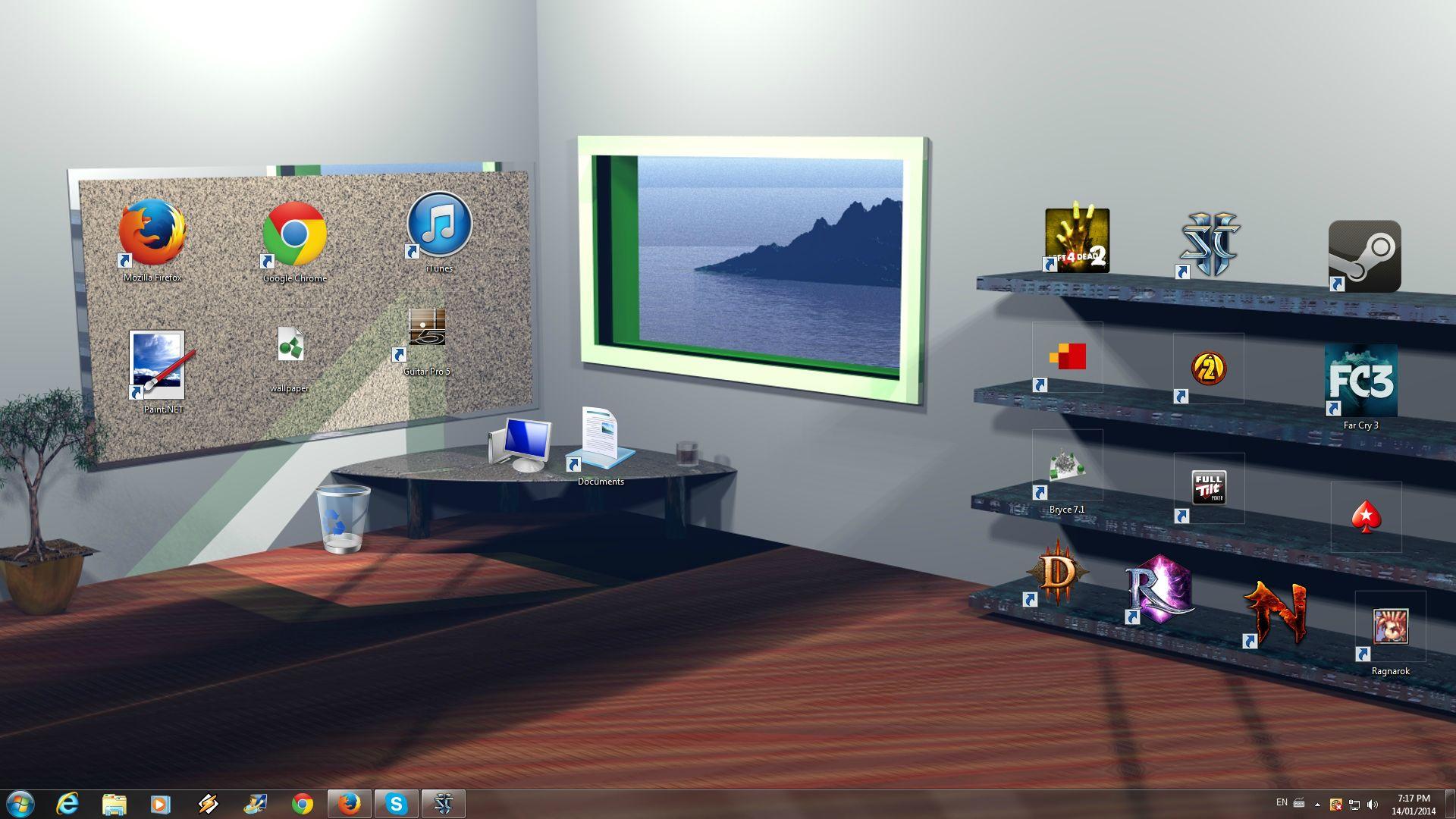 картинка для рабочего стола с полкой и компьютером материалы