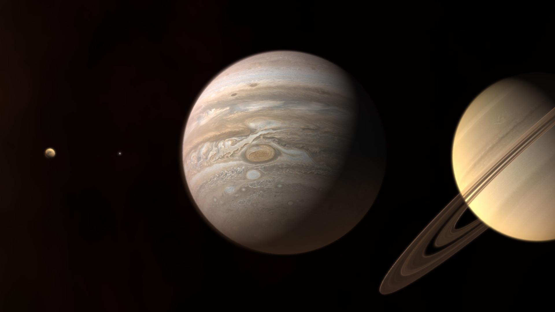 moon jupiter saturn aligned - HD1680×1050