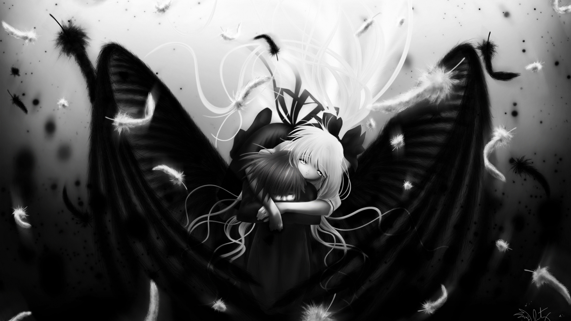 Free Download Anime Girl In Black And White Wallpapers Hd