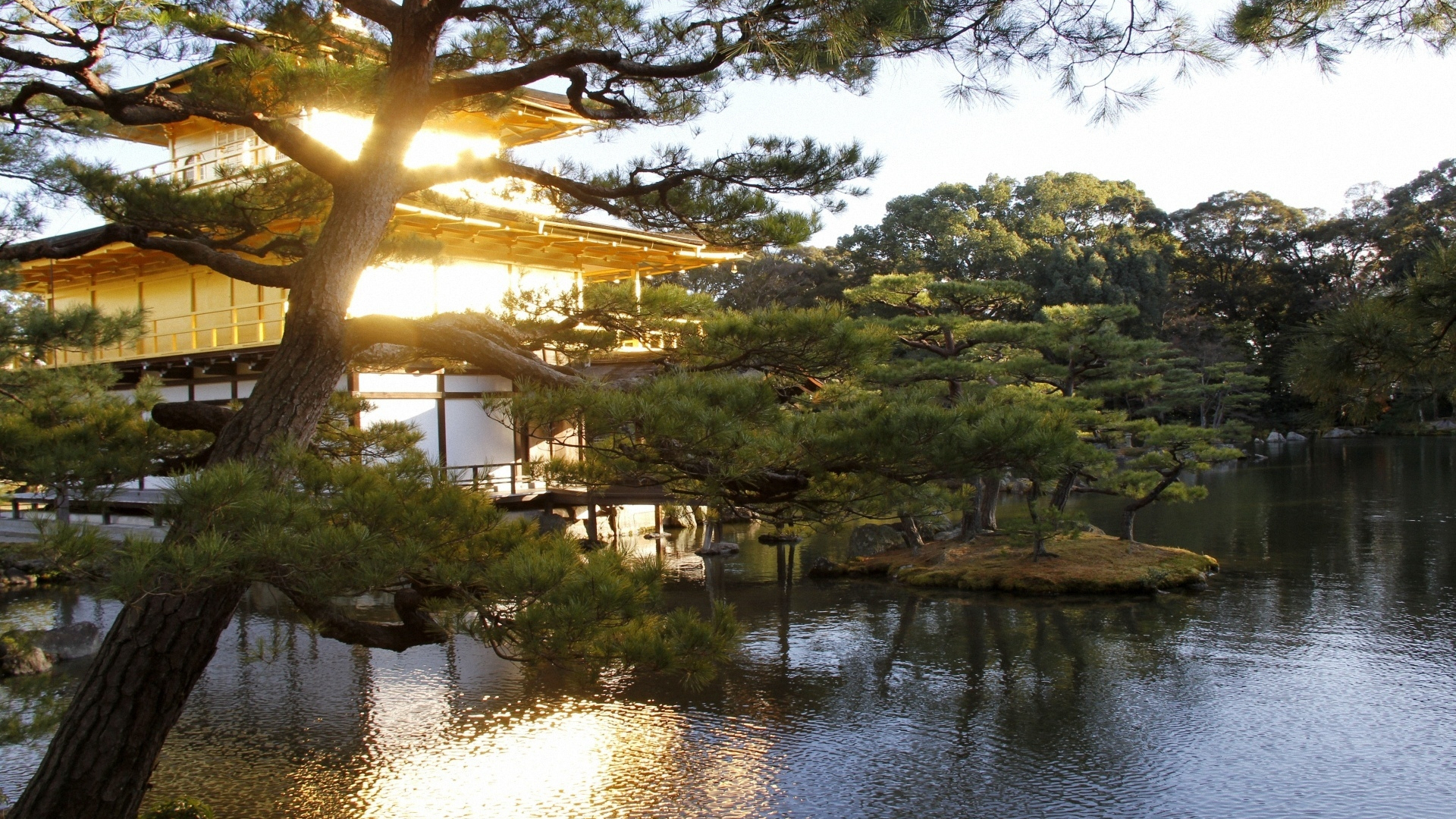 Free download Japan Mansion Water Garden Trees Wallpaper ...
