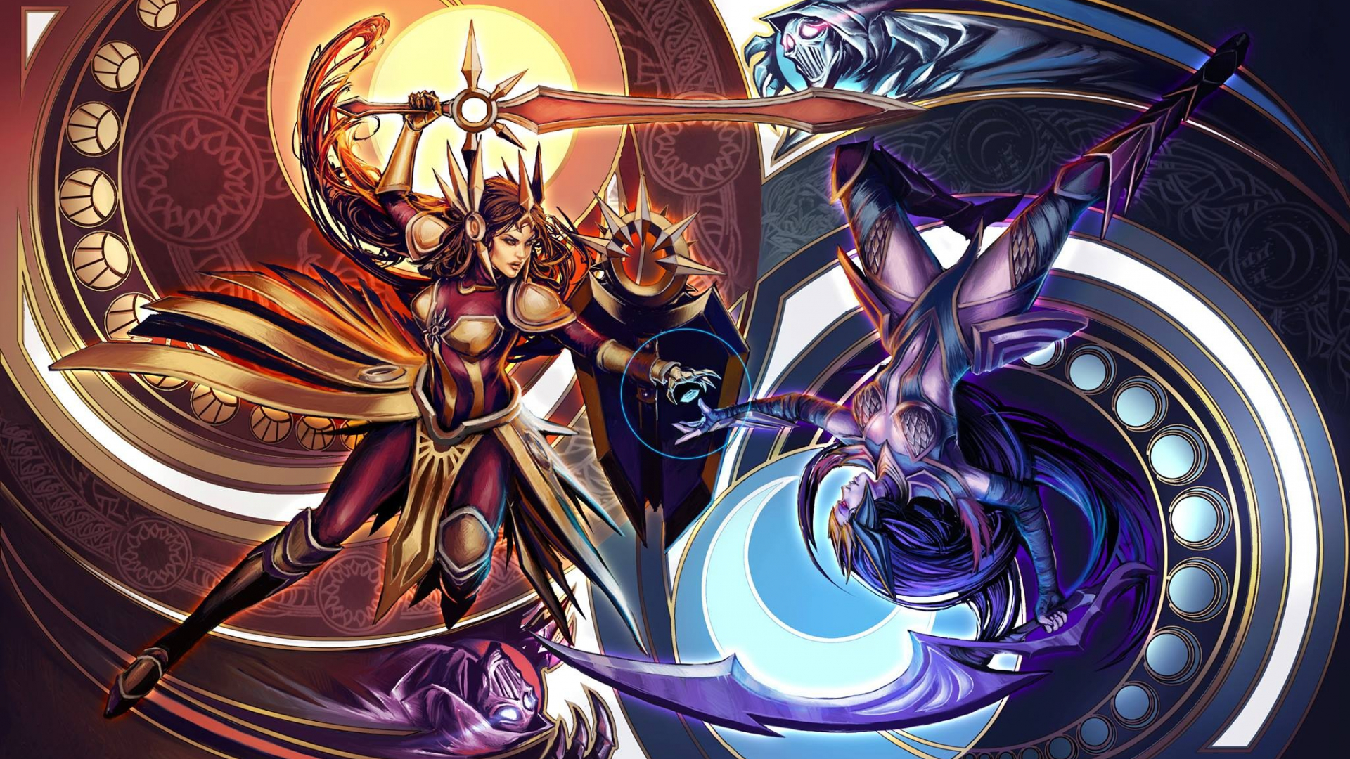 Free Download Women Fight League Of Legends Swords Leona Diana