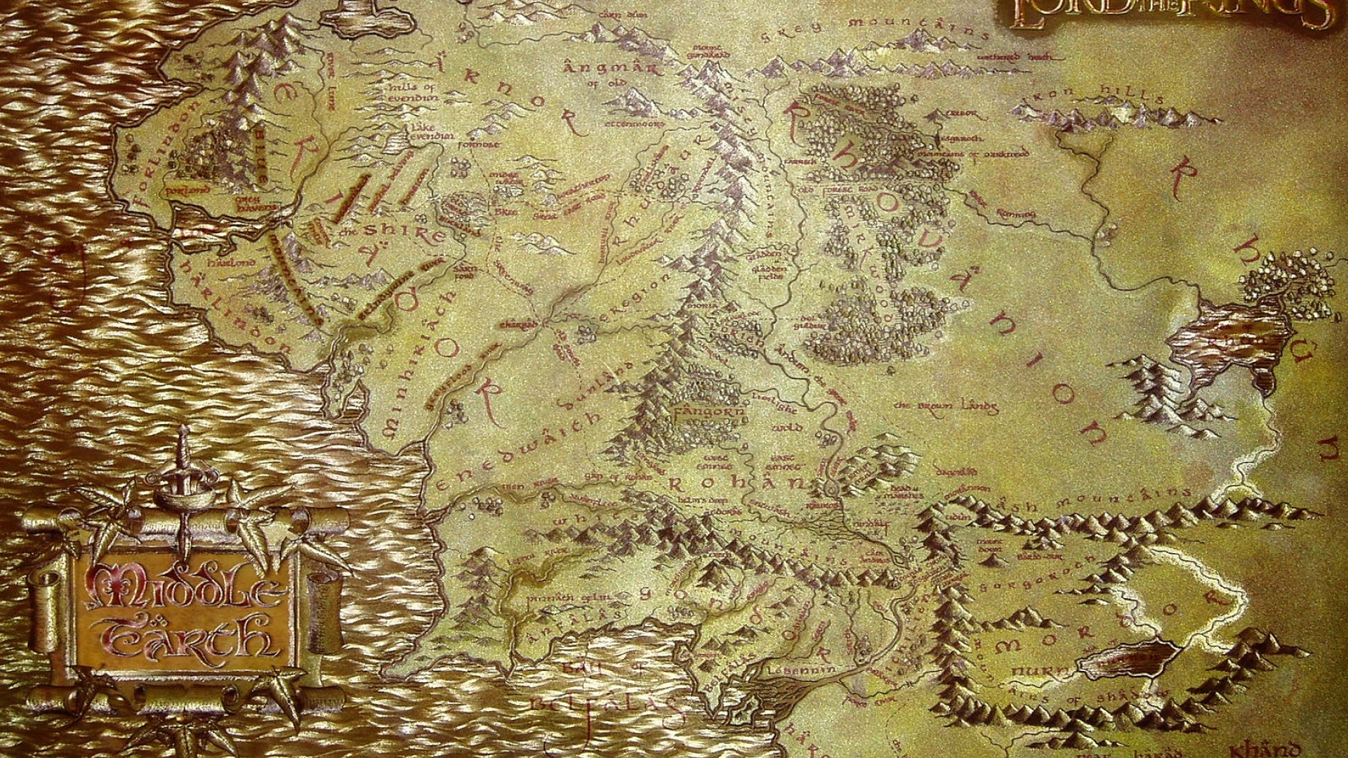 Free Download 1920x1200 The Lord Of The Rings Maps Middle Earth