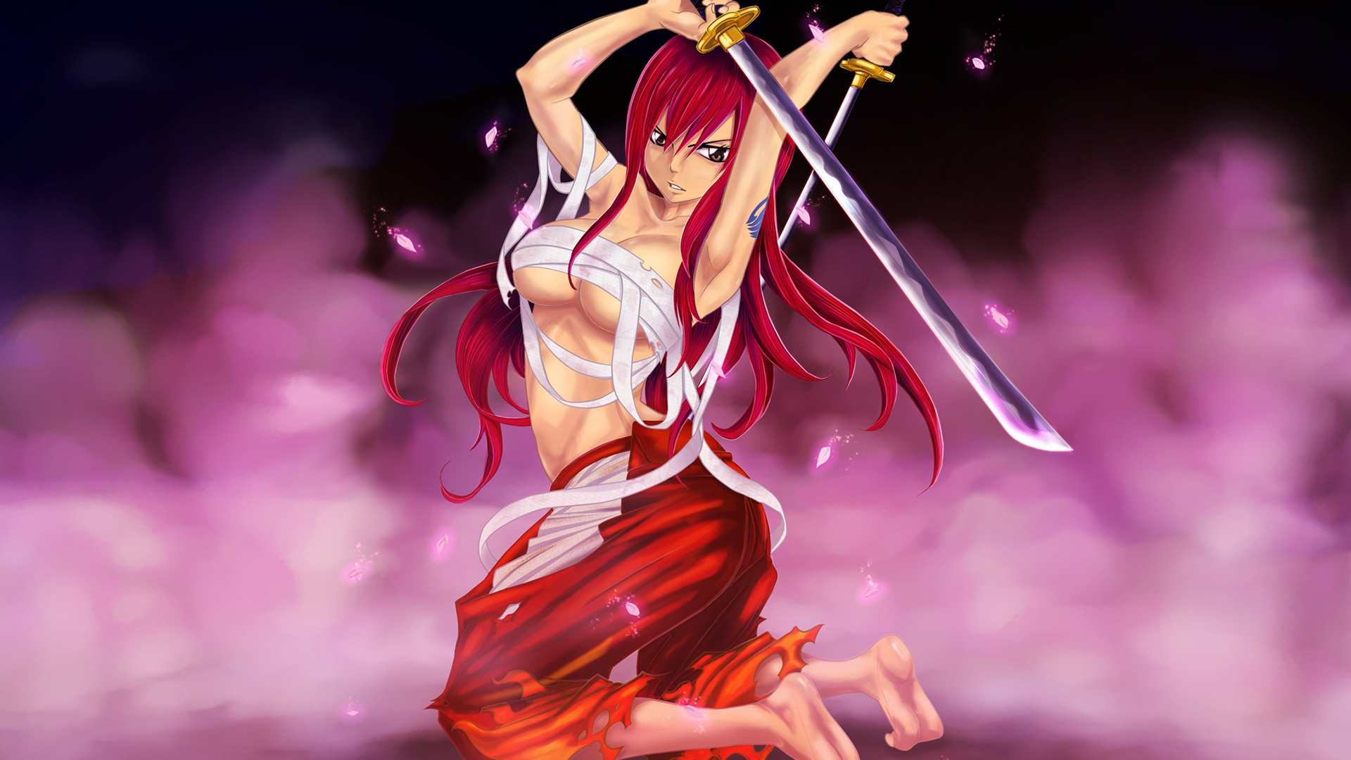 Free Download Sexy Erza Scarlet Katana Girl Anime Fairy Tail Hd