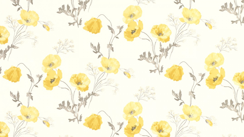 Yellow Laura Ashley Poppy Meadow Wallpaper in Primrose Odd Batch No/'s