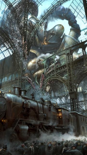 Steampunk Train Station Titan iPhone 6 Plus HD Wallpaper