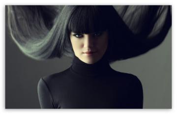 Brunette With Fringe Hairstyle HD desktop wallpaper Widescreen