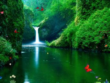 Waterfalls Screensaver   Green Waterfalls   FullScreensaverscom