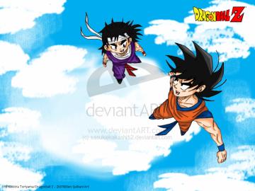Goku and Kid Gohan Wallpaper by sasukekakashi12