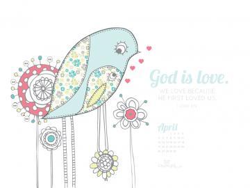 2015   God is Love Desktop Calendar  Monthly Calendars Wallpaper