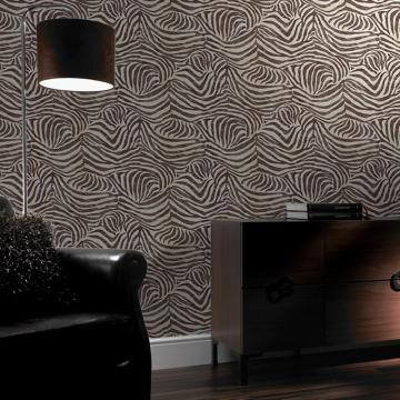 Brown Zebra Print Animal Faux Fur Pattern Textured Wallpaper 32 636