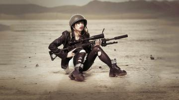 for show sha Women with Remington XM2010 Sniper Rifle HD Wallpaper