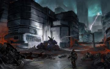 Halo Video Games Concept Art Buildings City Soldier HD Wallpaper x02