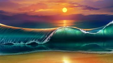 Wallpaper 38402160 art sunset beach sea waves 4K Ultra HD HD