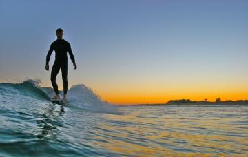 Surfing Sunset Longboard Longboarding the sunset