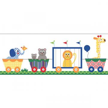 Circus Train Primary Prepasted Wall Border   Wall Sticker Outlet