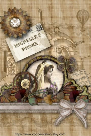 to Personalized iPhone 4 Steampunk Digital Wallpapers DPW001 on Etsy