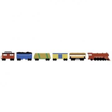 Uncut 3 Train Sets on a Peel and Stick Wallpaper Border   All 4 Walls